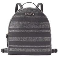 【KATE SPADE】銀X黑閃光條紋拉鍊後背包