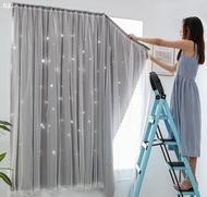 ม่านห้องนอน สำเร็จรูปพรุนผ้าม่านผ้าห้องนอน Velcro ผ้าม่าน กว้าง 0.7 เมตร ยาว 1.0/1.5 เมตร