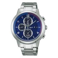 【agnes b.】法國旗元素 經典三眼太陽能計時腕錶-銀/藍(V172-0AX0B/BY6002P1)