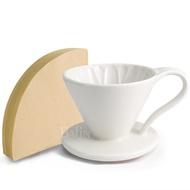 【義大利Balzano】1~2人份花瓣陶瓷錐形濾杯+日本三洋 錐形濾紙100張