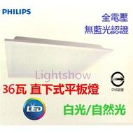 (Lightshow) PHILIPS 飛利浦 LED 36W 全電壓直下式平板燈 RC093V 方型 輕鋼架 間接照明