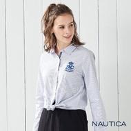 【NAUTICA】女裝學院風長袖襯衫(藍)