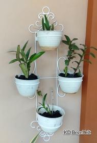 standing pot anggrek model B + bonus pot tawon / rak bunga besi tempel dinding minimalis