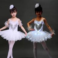 發光舞蹈服裝熒光芭蕾舞裙成人演出LED婚禮表演服星光兒童蓬蓬裙