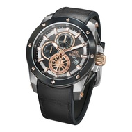Roscani Paul 988 (Chronograph + WR10ATM) Rose Gold Brown Leather Men Watch