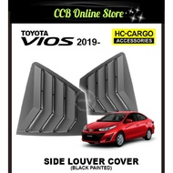 Toyota Vios 2019 Black Rear Side Louver Cover Window Triangle Mirror Cover Protector (Black Painted)