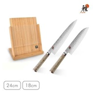 【ZWILLING 德國雙人】Miyabi 5000MCD-B西式主廚刀24cm+日式三德刀18cm+直立式磁吸式刀座