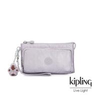 Kipling 時尚香檳淡雅紫多功能夾層手拿包-DREAMY