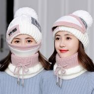 毛線帽子女冬天韓版針織套頭帽騎車防風保暖加厚口罩帽圍脖三件套