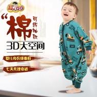 ™✣﹊嬰兒童分腿睡袋春夏單層嬰兒防踢被寶寶睡袋可拆袖大童連體睡衣