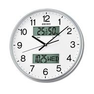 掛鐘 SEIKO精工雙顯液晶銀色【NV96】原廠公司貨
