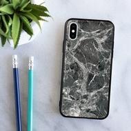 iPhone 12 Pro黑石紋雲石水亮面手機殼 XR Max 三星紅米小米華為