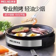 電烤爐 美菱圓形電烤盤家用小迷你烤肉鍋煎牛排盤麥飯石多功能烤肉機盤鍋MKS 夢藝家