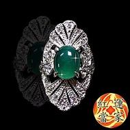 紅運當家 透光 翡翠綠玉髓+水鑽 豪華版戒指(主墜長10mm)