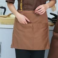 圍裙  半身短圍裙服務員女半截裙墨綠色男士西餐咖啡廳廚師定制裙子『SS3567』