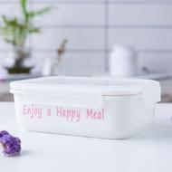 保温盒✺日式四面可扣分格飯盒保鮮密封碗可微波爐加熱樂扣陶瓷分隔便當盒
