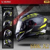 [中壢安信]SBK X2 REVOLUTION 彩繪 平黑螢光黃 雙D扣 內襯可拆 內置遮陽片 全罩 安全帽