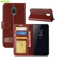 For Samsung Galaxy J7 Plus Cover Luxury Flip Leather Book Style Card Slot TPU Back Cover For Samsung