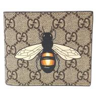 GUCCI   經典雙GG Supreme 蜜蜂印花摺疊短夾(棕色)