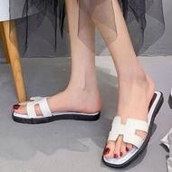 UUJULYES รองเท้าคัชชูเปิดส้น ทรงแฟชั่น สไตล์เกาหลี มี 2 สี