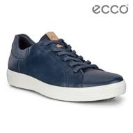 【ecco】SOFT 7 M 單色拼接設計輕便休閒鞋 男鞋(藍 47005451952)
