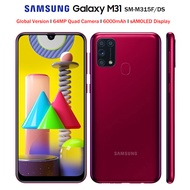 "Global Version Samsung Galaxy M31 M315F/DSNโทรศัพท์มือถือ 6GB 128GB OctaCore 6.4 ""1080x2340P 6000mAh 48MP NFC Android10 สมาร์ทโฟน"