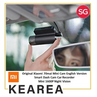 Original Xiaomi 70mai Mini Cam English Version Smart Dash Cam Car Recorder Mini 1600P Night Vision Upgrade Version Wifi Car DVR