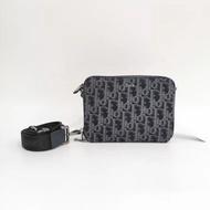 【Go時尚】DIOR OBLIQUE 圖案藍色緹花 黑色 手拿包 老花 雙層 迪奧相機包