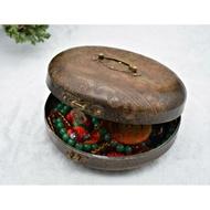 【福臨軒】早期收藏 仿古雙色刻花銅盒 朝珠盒 收藏盒 法器盒 神明朝珠盒