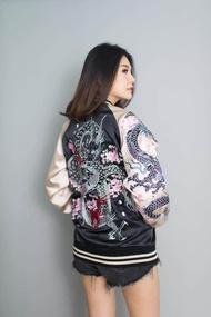 SUKAJAN Jacket DRAGON Sakura Embroidered แจ็กเก็ต ปักลายมังกร ดอกซากุระ ลายญี่ปุ่น