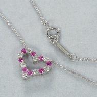 [超優惠] Tiffany Heart Pendant 心形 小型 PT950鉑金鑽石搭寶石 項鍊