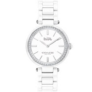 COACH 經典馬車時尚晶鑽陶瓷腕錶-30mm/白(14503450)
