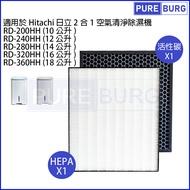 適用Hitachi日立RD-200HH RD-240HH RD-280HH RD-320HH RD-360HH空氣清淨除濕機脫臭+HEPA濾網