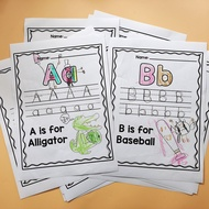 26 Letters From-A-to-Z Alphabet ABC Cognition Kindergarten Preschool English Worksheets Activities Workbooks Homework Coloring Books for Kids Early Learning Educational Gifts