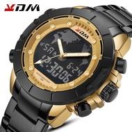 KDM Top Brand Men Watch World Map Big Dial Sport Watches For Mens Chronograph LED Electronic Analog Quartz Wristwatch Steel Strap Jam Tangan Lelaki / Man