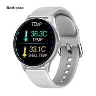 Battiphee新款K21溫度計智慧手錶體溫監測男女健身跟踪器波段血壓監測運動藍牙智慧手錶IOS Android