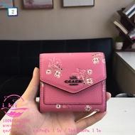 New Coach F28445 กระเป๋าสตางค์ใบสั้นสุภาพสตรีขนาดเล็กของแท้ 100% กระเป๋าใส่เหรียญหนังลายดอกไม้แฟชั่น กระเป๋าสตางค์ กระเป๋าสตางค์