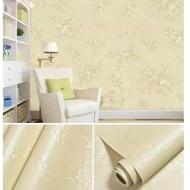 Wallpaper Dinding Ruang Tamu Wallpaper Sticker Dinding Krem Polos Bertekstur Bunga Mewah Elegan Modern Premium