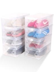 透明塑膠鞋盒單個裝鞋架簡易抽屜式摺疊多層鞋子收納盒整理20個裝  ATF