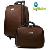 BagsMarket Luggage WHEAL กระเป๋าเดินทางล้อลาก ระบบรหัสล๊อค เซ็ทคู่ ขนาด 20 นิ้ว/14 นิ้ว Luxury Classic Code F784120-2 (Brown)