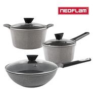 NEOFLAM Venn系列 鍋具3件組(24cm湯鍋+18cm單柄湯鍋+30cm炒鍋)