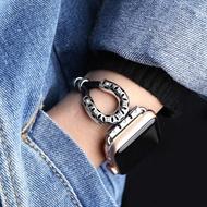 適用Apple Watch蘋果智慧手錶帶 i watch1/2/3代首飾金屬羊皮繩錬  遇見生活 聖誕節禮物