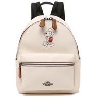 【COACH】迪士尼限量聯名款小牛皮後背包-白色(現貨+預購)
