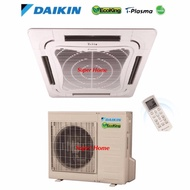 Daikin Ceiling Cassette Aircond FCN25F & RN25C (Panel BCFG1-PLCK) 2.5hp Ceiling Cassette Type Air Conditioner Eco King (R410A) - Non Inverter - Air Surround Series
