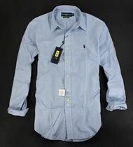 美國百分百【全新真品】Ralph Lauren RL POLO 格紋 藍色 長袖 襯衫 舒適棉質 男衣 M號 超取