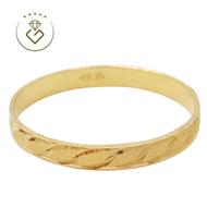 [Kedai Emas Gemilang] 200219 Leaf Pattern Gold Band Ring (16) (1.04G) [916 Gold]