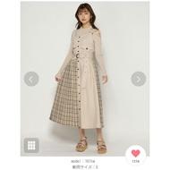 REDYAZEL排釦拼接格紋連身裙附腰帶