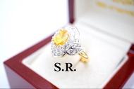 แหวนบุษราคัม 2.80 กะรัต ล้อมเพชร 5 ตัง สวยหรู พลอยสีสวย สด น้ำใส พร้อมใบรับรองสินค้า เคลือบทองคำแท้100%
