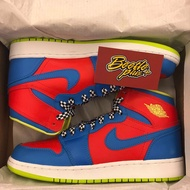 BEETLE NIKE AIR JORDAN 1 RETRO HIGH BG 藍紅 樂高 女鞋 705300-615 24CM