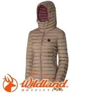 《低溫特報》【Wildland 荒野 女款700FP連帽輕時尚羽絨衣 黃卡其】 0A32111/連帽外套/羽絨外套/保暖外套